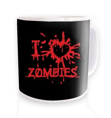 I heart zombies black mug