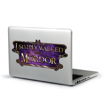 I Simply Walked Into Mordor laptop sticker (purple)