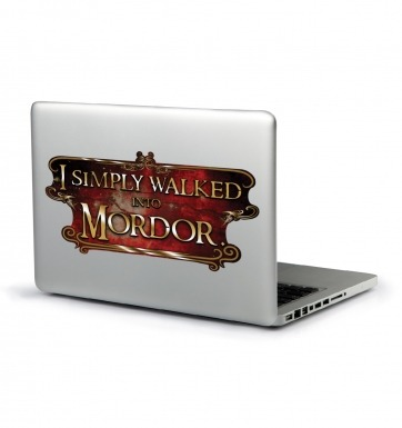 I Simply Walked Into Mordor laptop sticker (red)