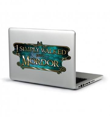 I Simply Walked Into Mordor laptop sticker (teal)
