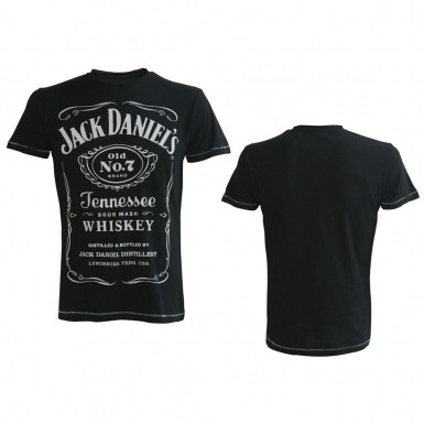 Jack Daniel's t-shirt - classic white logo on black JD tee