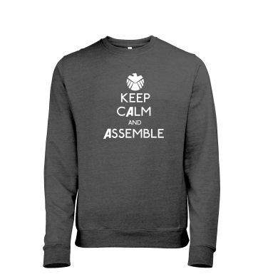 Keep Calm and Assemble Adult Mens Heather Sweatshirt   Inspired by The Avengers