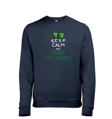 Keep Calm and Dont Get Angry Mens Heather Sweatshirt Hulk Avengers