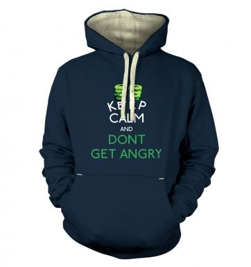 Keep Calm and Dont Get Angry Adult Premium Hoodie Hulk Avengers
