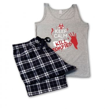 Keep Calm And Kill Zombies ladies pyjamas (womens)