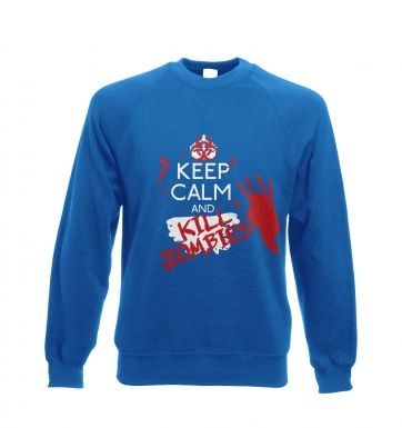 Keep Calm and Kill Zombies Adult Crewneck Sweatshirt