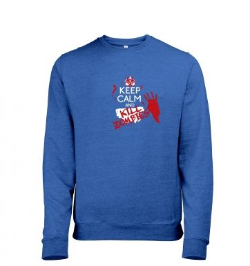 Keep Calm And Kill Zombies men's heather sweatshirt