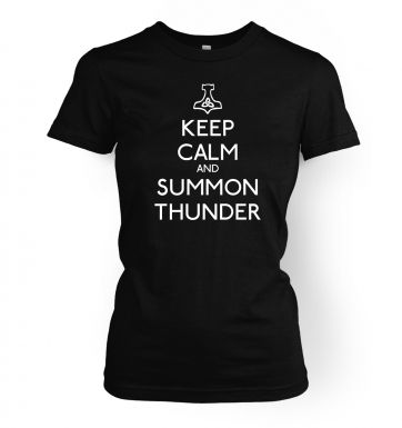 Keep Calm and Summon Thunder women's t-shirt