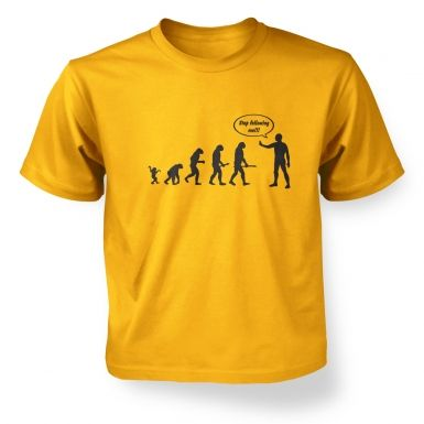 ' stop following me! evolution kids t-shirt
