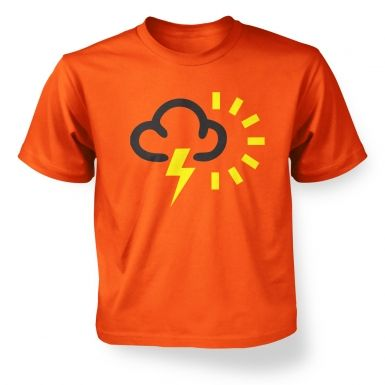 Kids' Weather Symbol Thunderstorms with Sun t-shirt