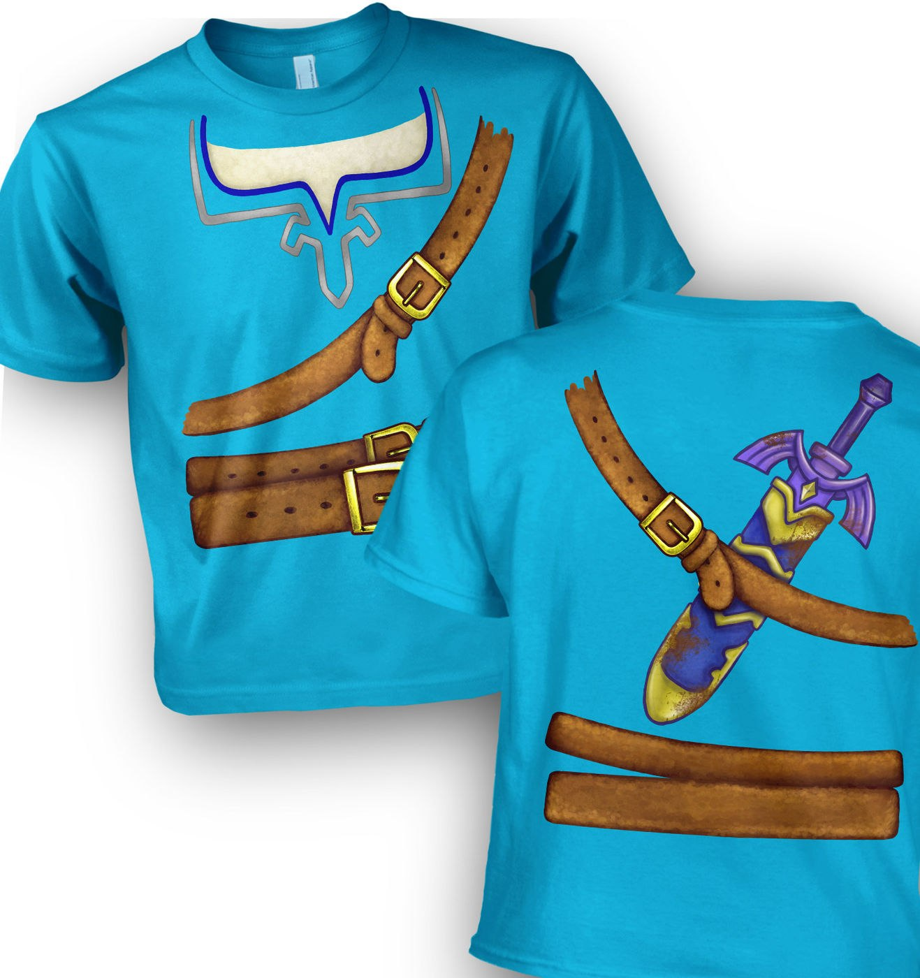 Blue Hyrule Warrior Costume kids t-shirt by Something Geeky