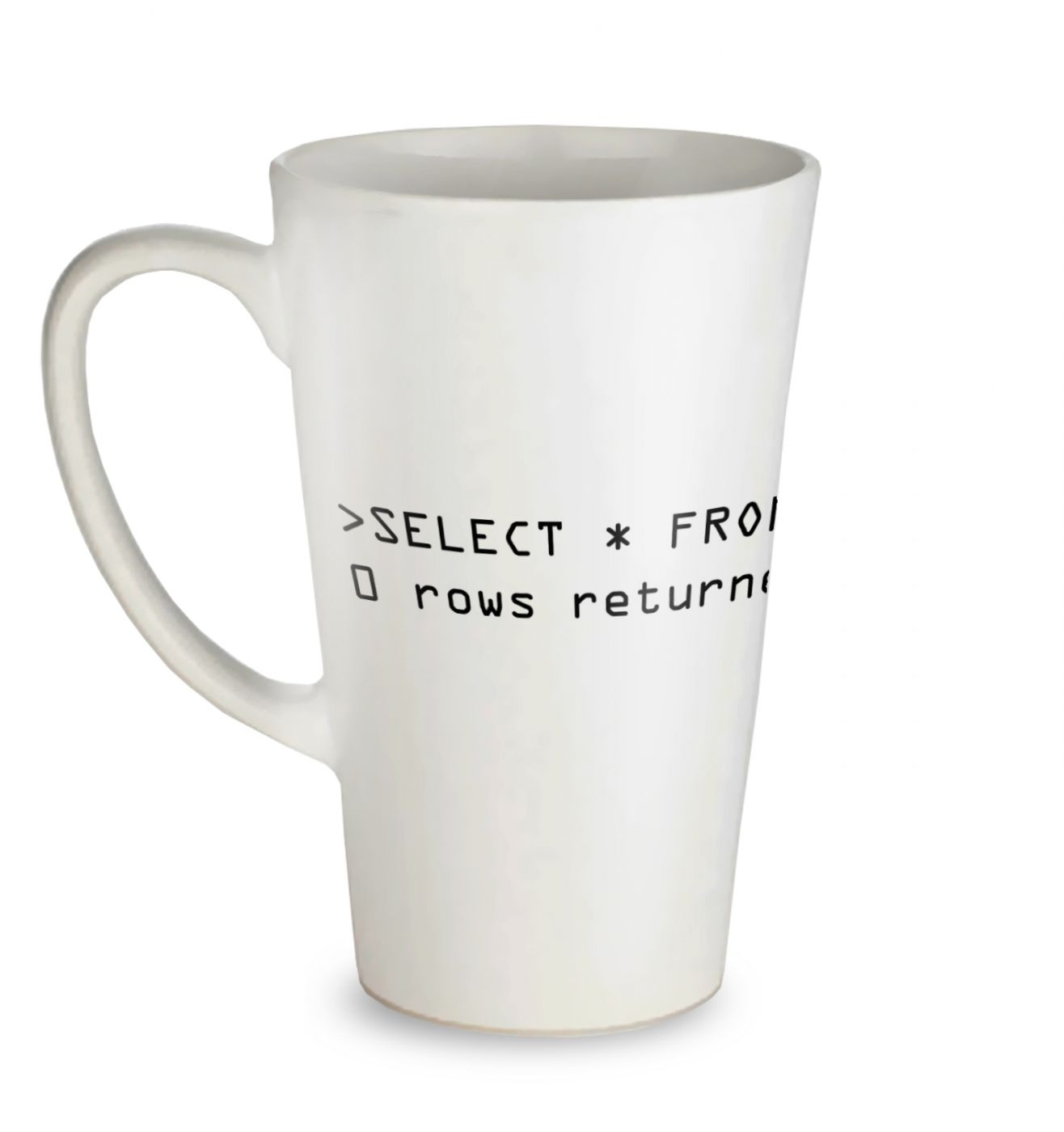 Clueless Users SQL Query tall latte mug