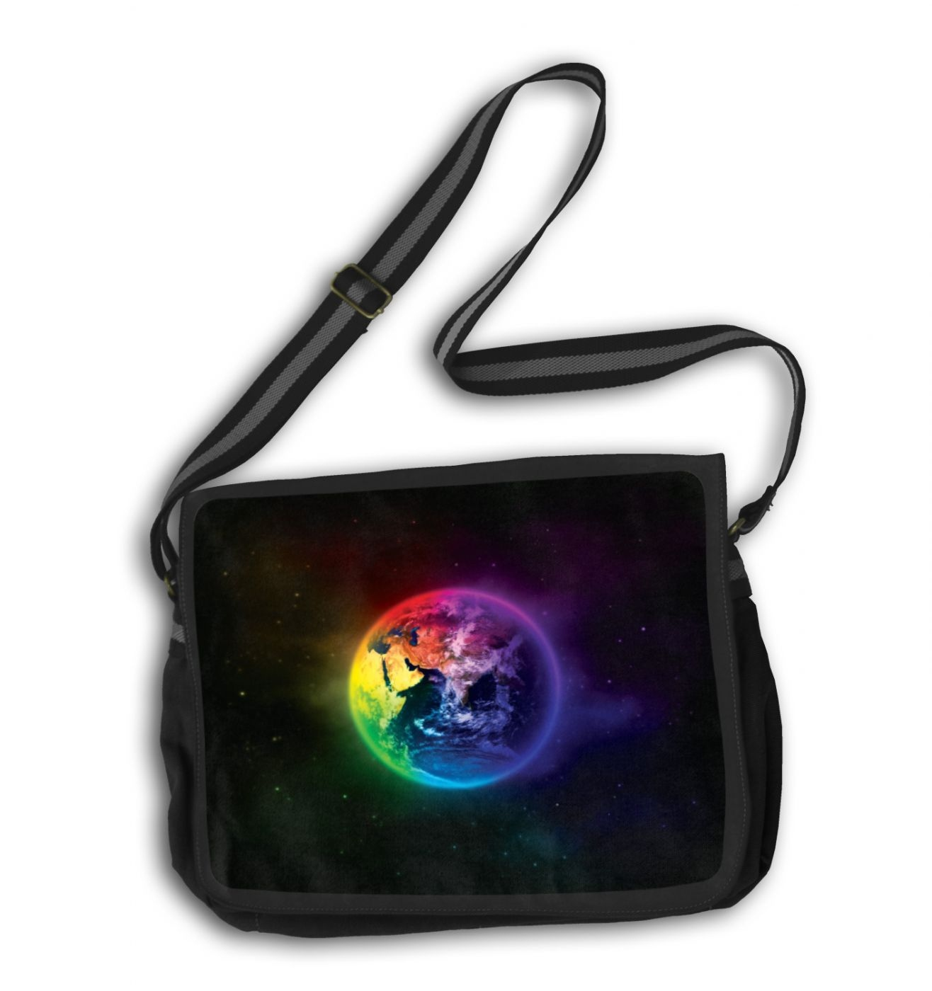 Colourful Planet Earth messenger bag