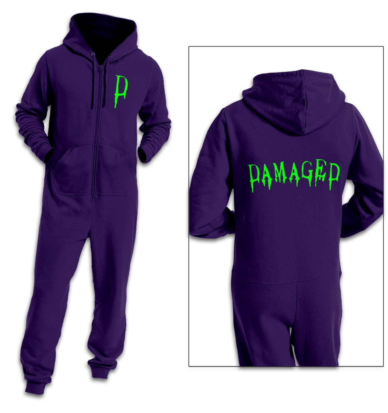 Damaged (Green) adult onesie by Something Geeky