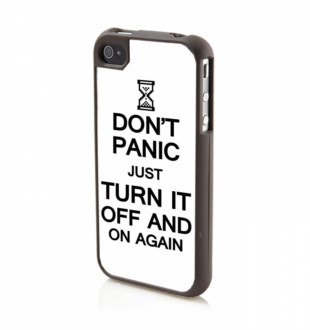 Don't Panic Just Turn It Off And On Again (BLACK) Apple iPhone 4/4s Phone case