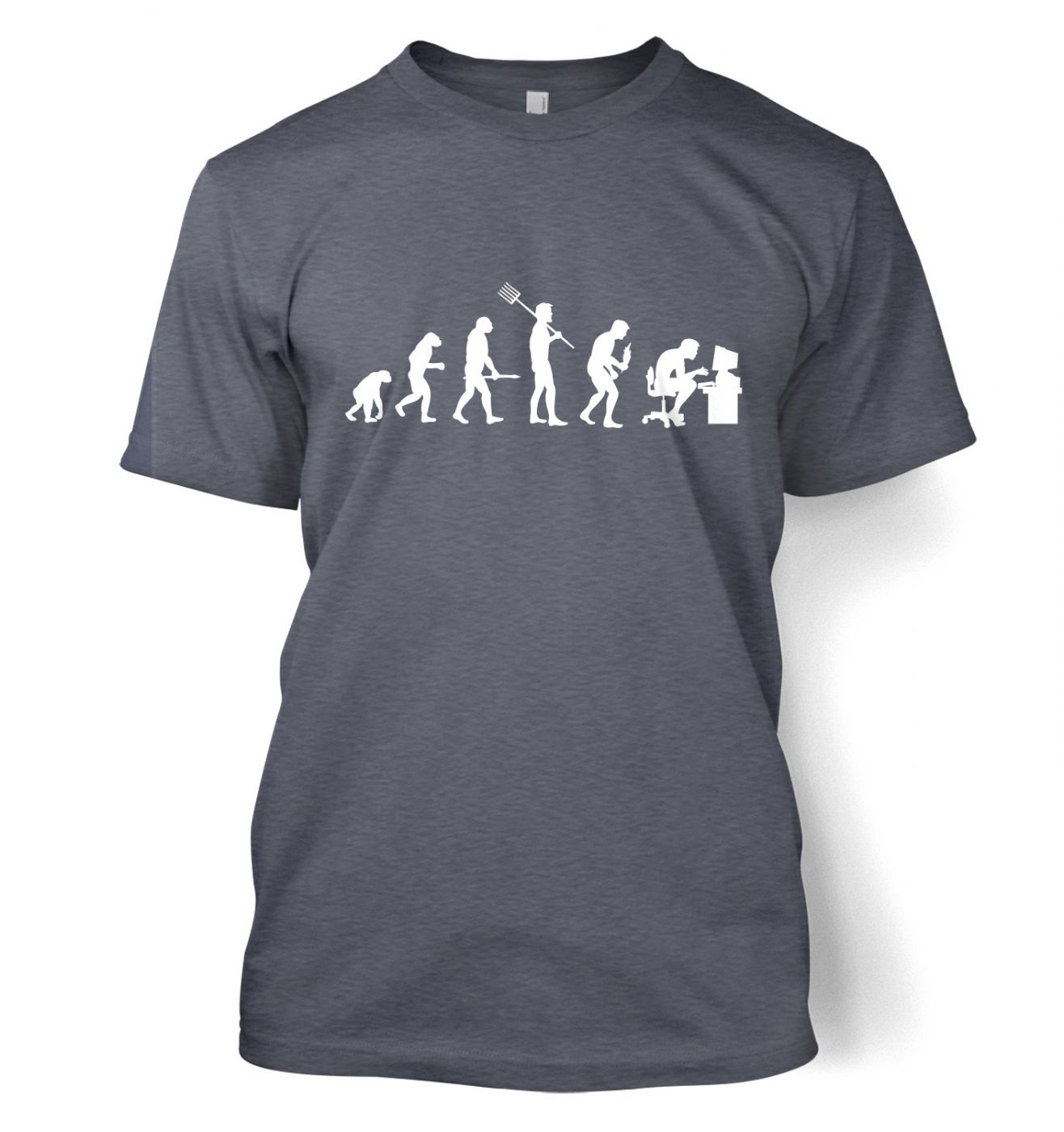 Evolution of a geeky man (white detail) t-shirt