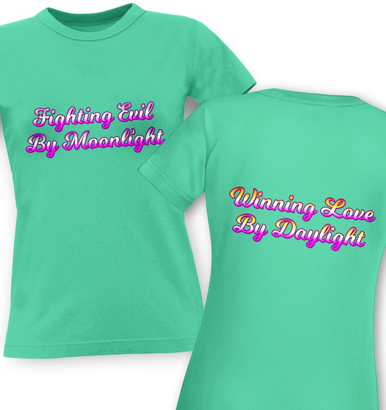 Fighting Evil Winning Love (Front and Back) classic women's t-shirt by Something Geeky