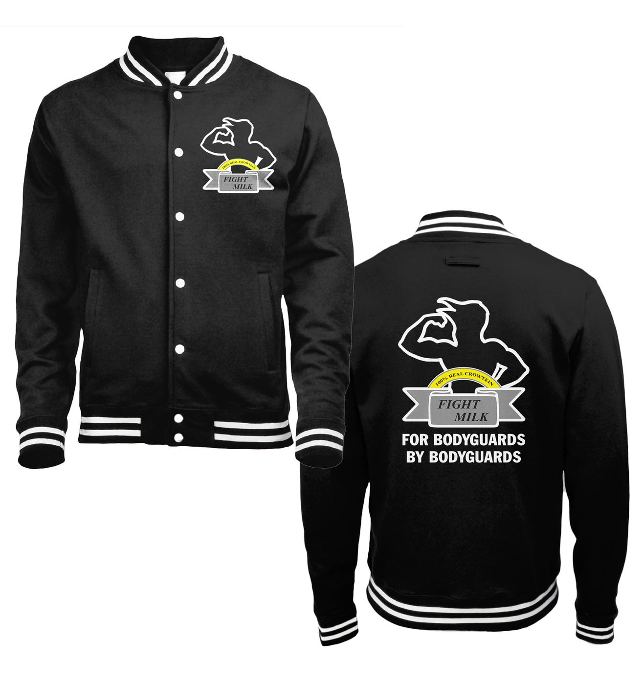 Fight Milk one-tone college jacket by Something Geeky