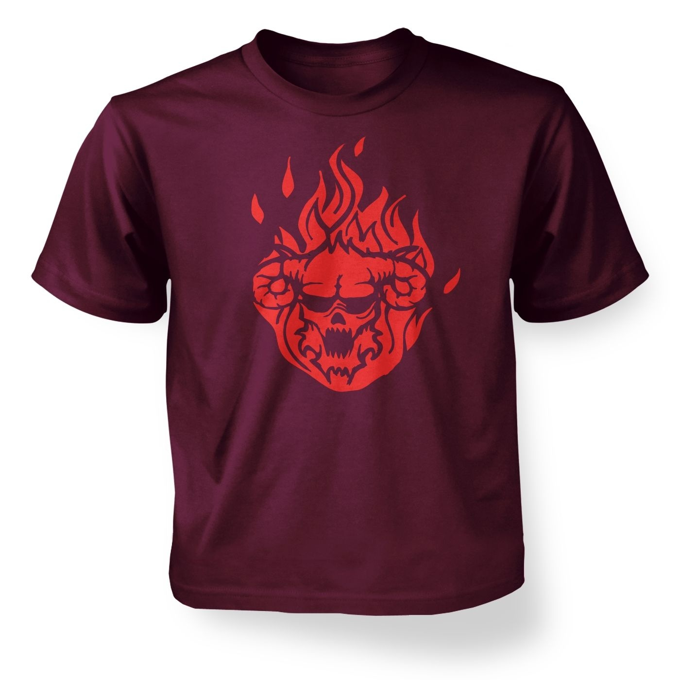 Flaming Demon's Head kids' t-shirt