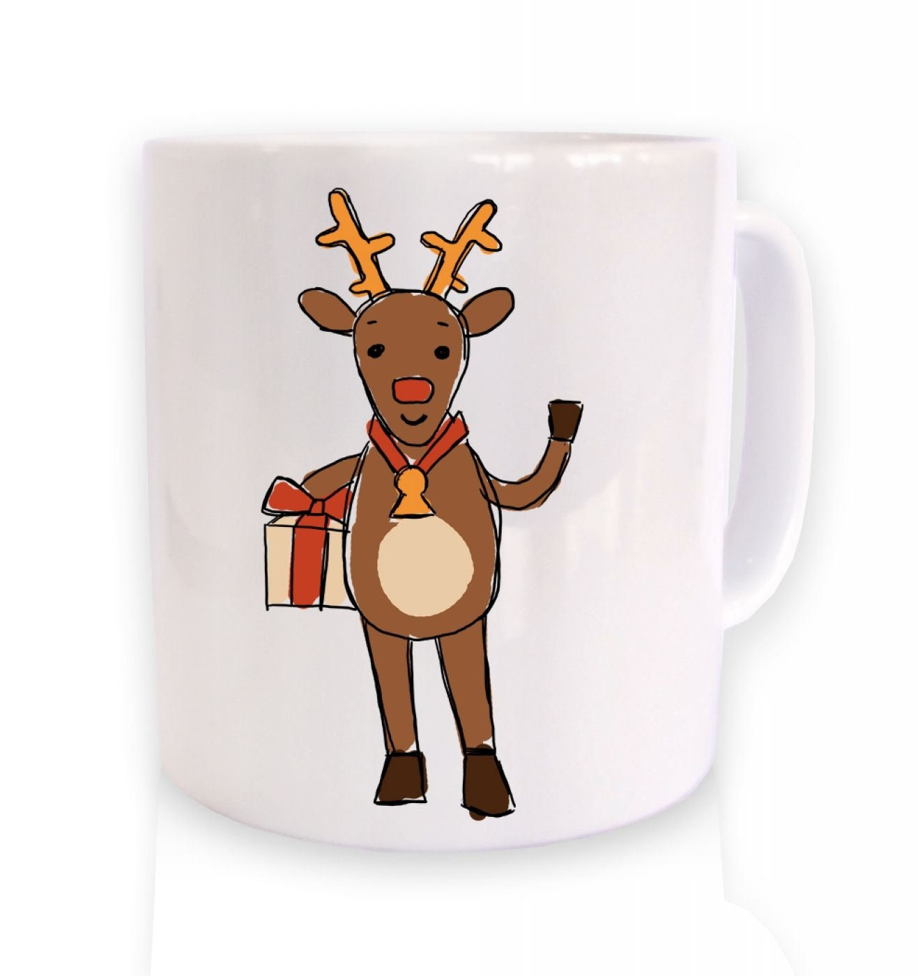 Happy Reindeer Sketch Christmas Mug