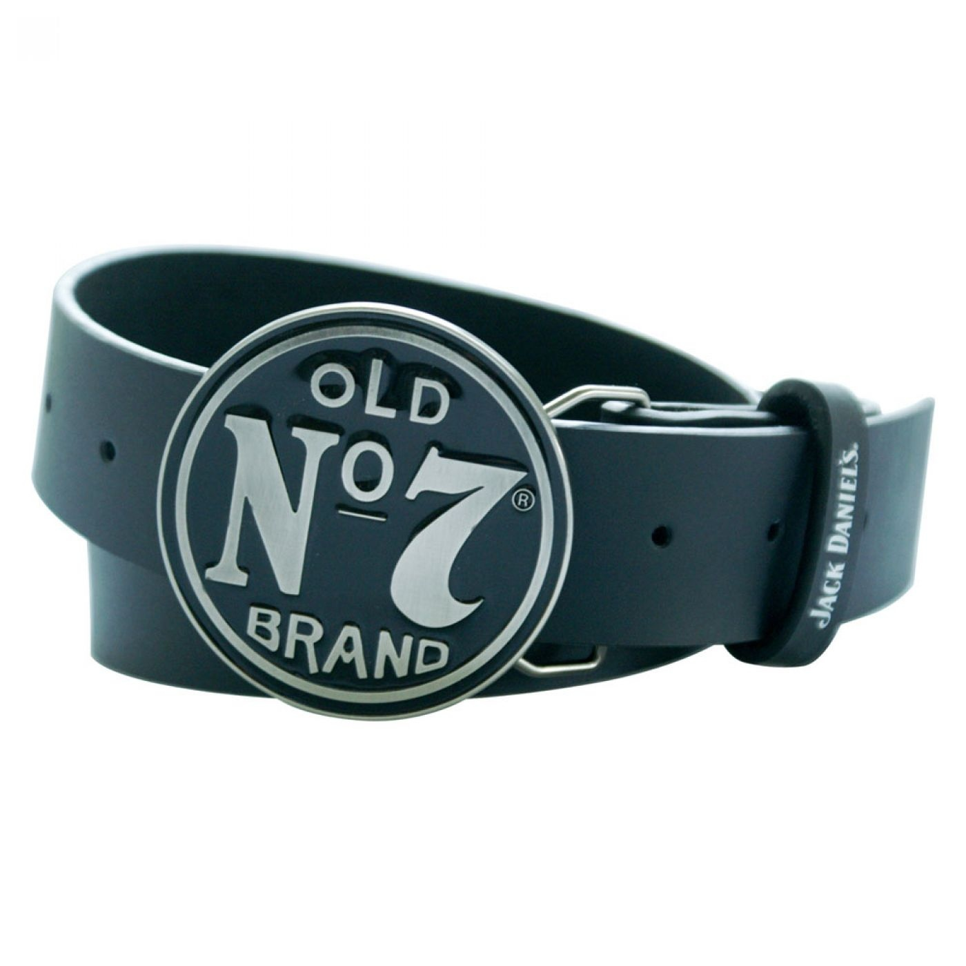 Jack Daniel's belt with circular buckle - Leather JD belt