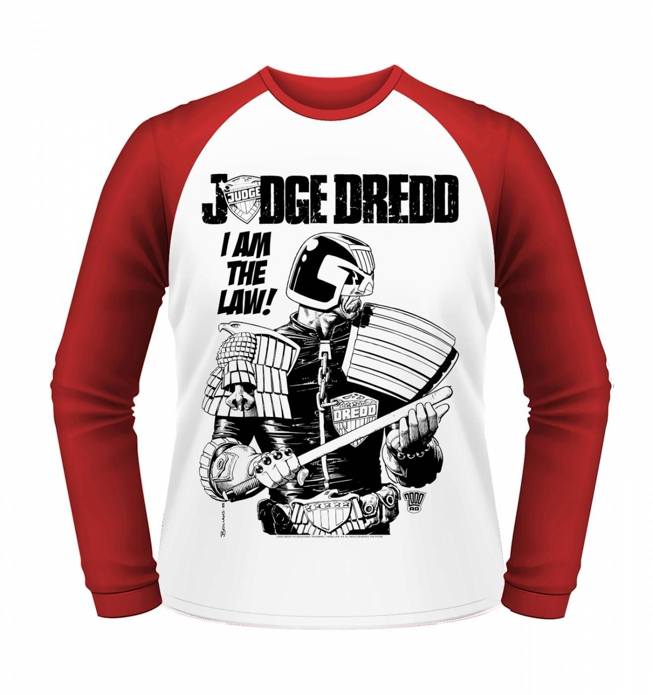 OFFICIAL Judge Dredd I Am The Law long sleeved baseball shirt