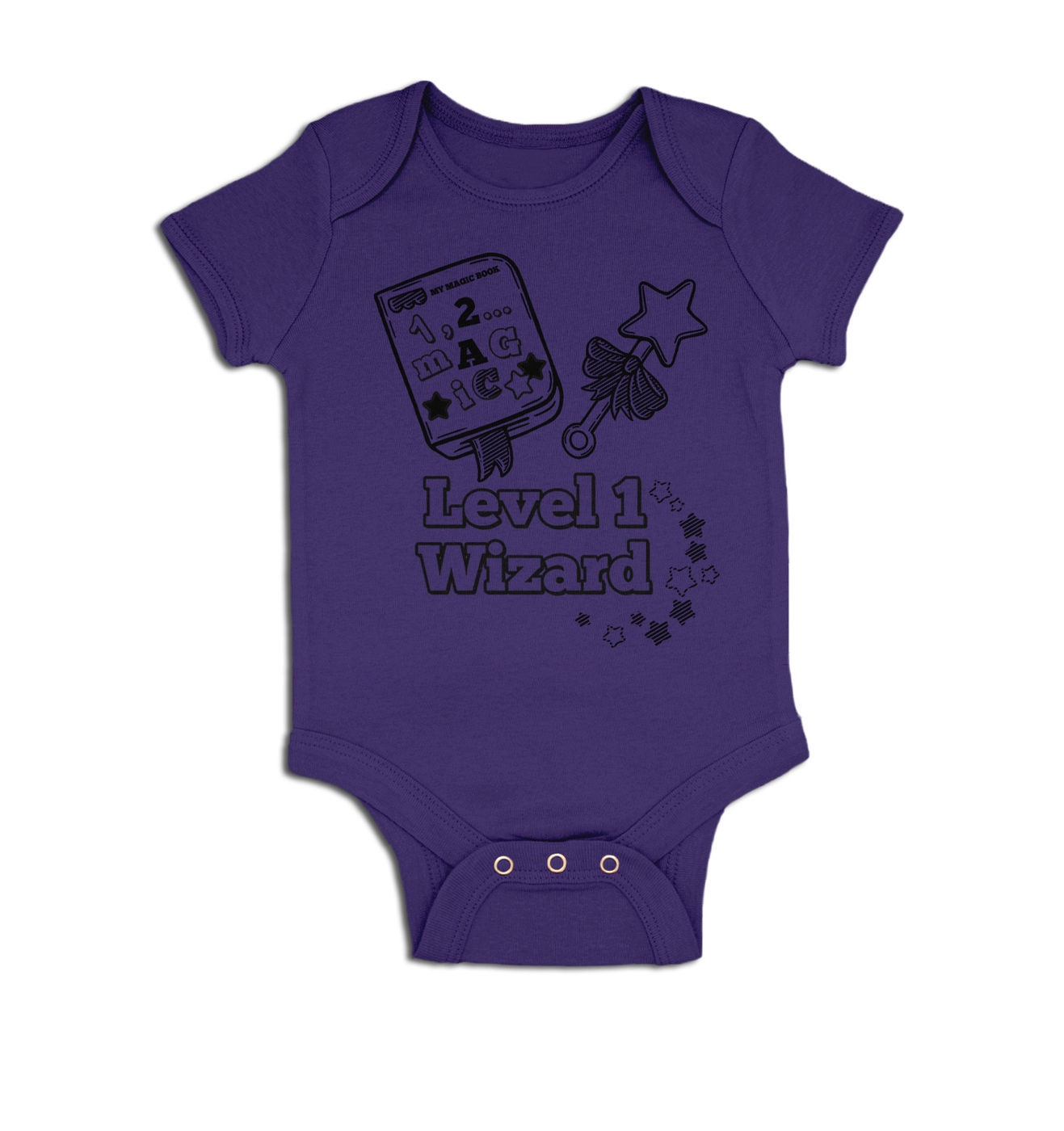 Level 1 Wizard baby grow by Something Geeky