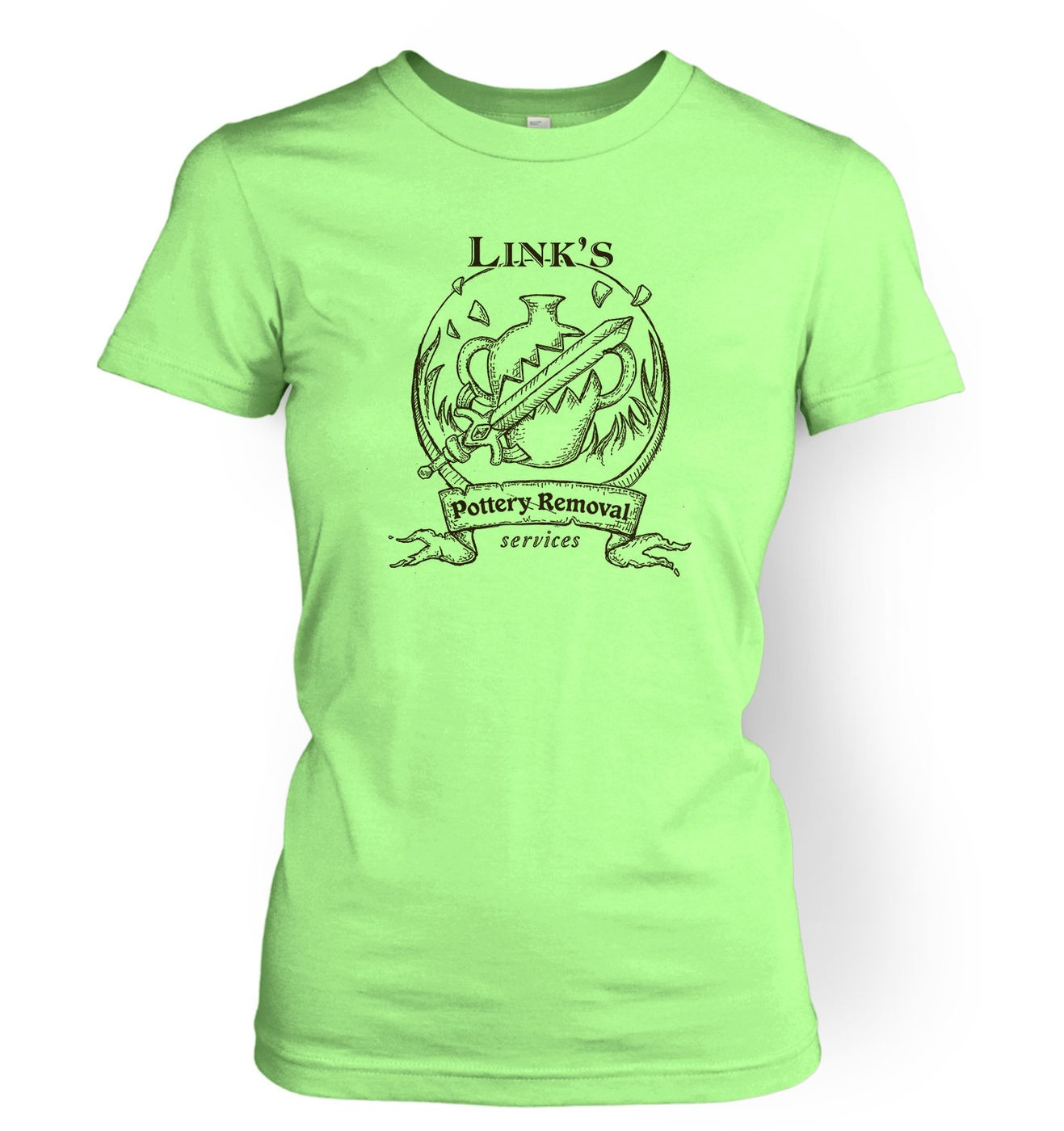Link's Pottery Removal womens t-shirt by Something Geeky
