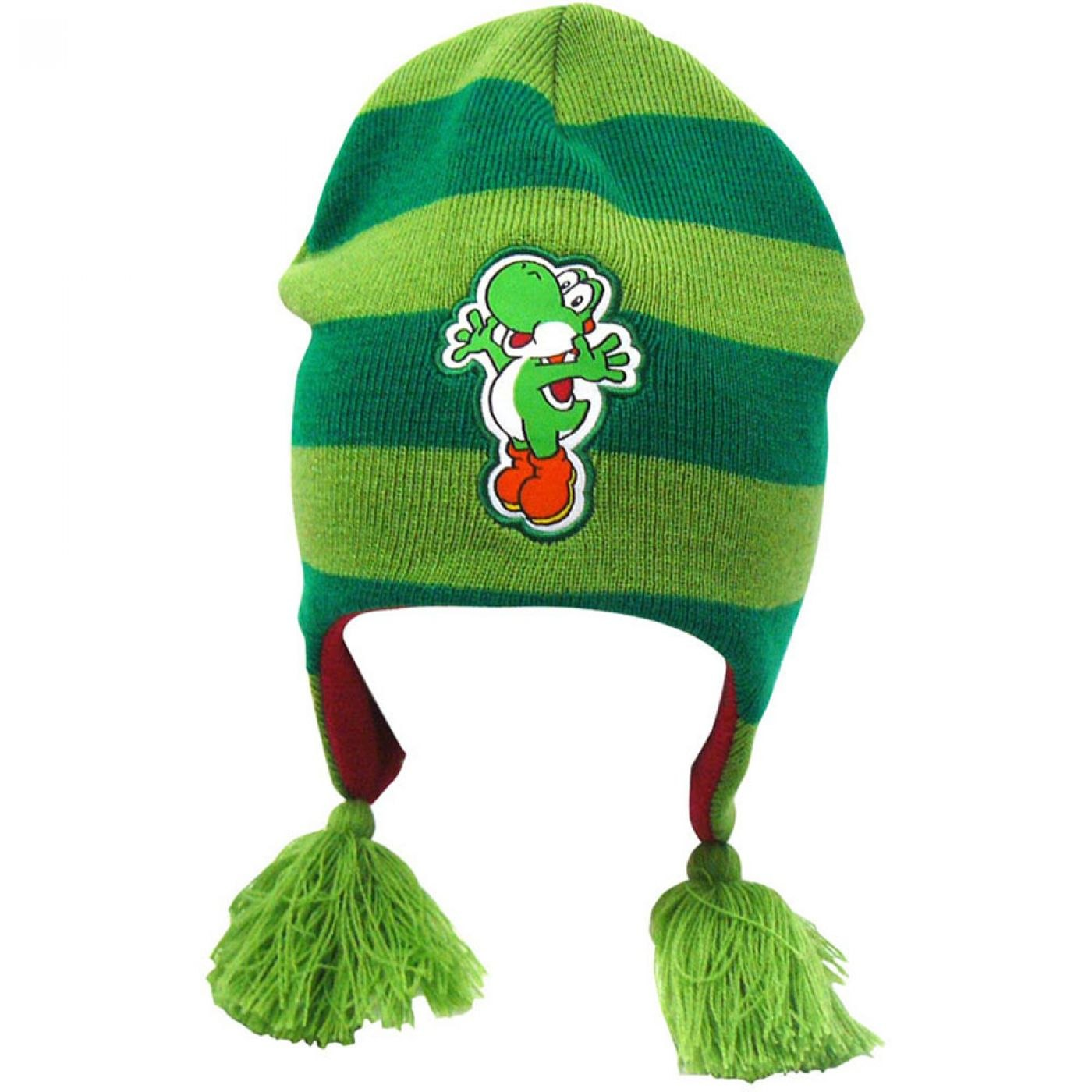 Nintendo Super Mario Bros beanie hat with tassels - Yoshi