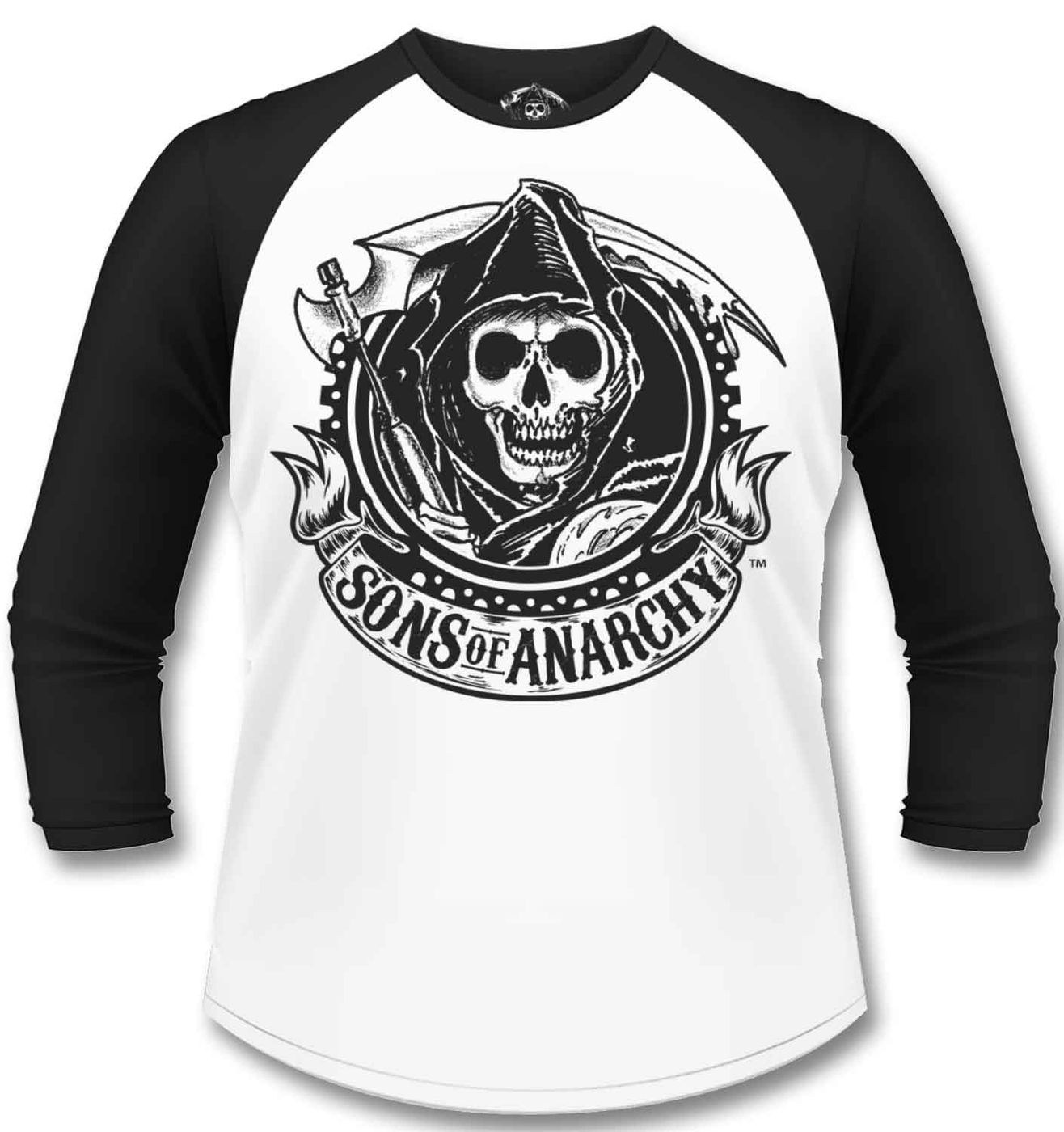 official sons of anarchy reaper banner long sleeved. Black Bedroom Furniture Sets. Home Design Ideas