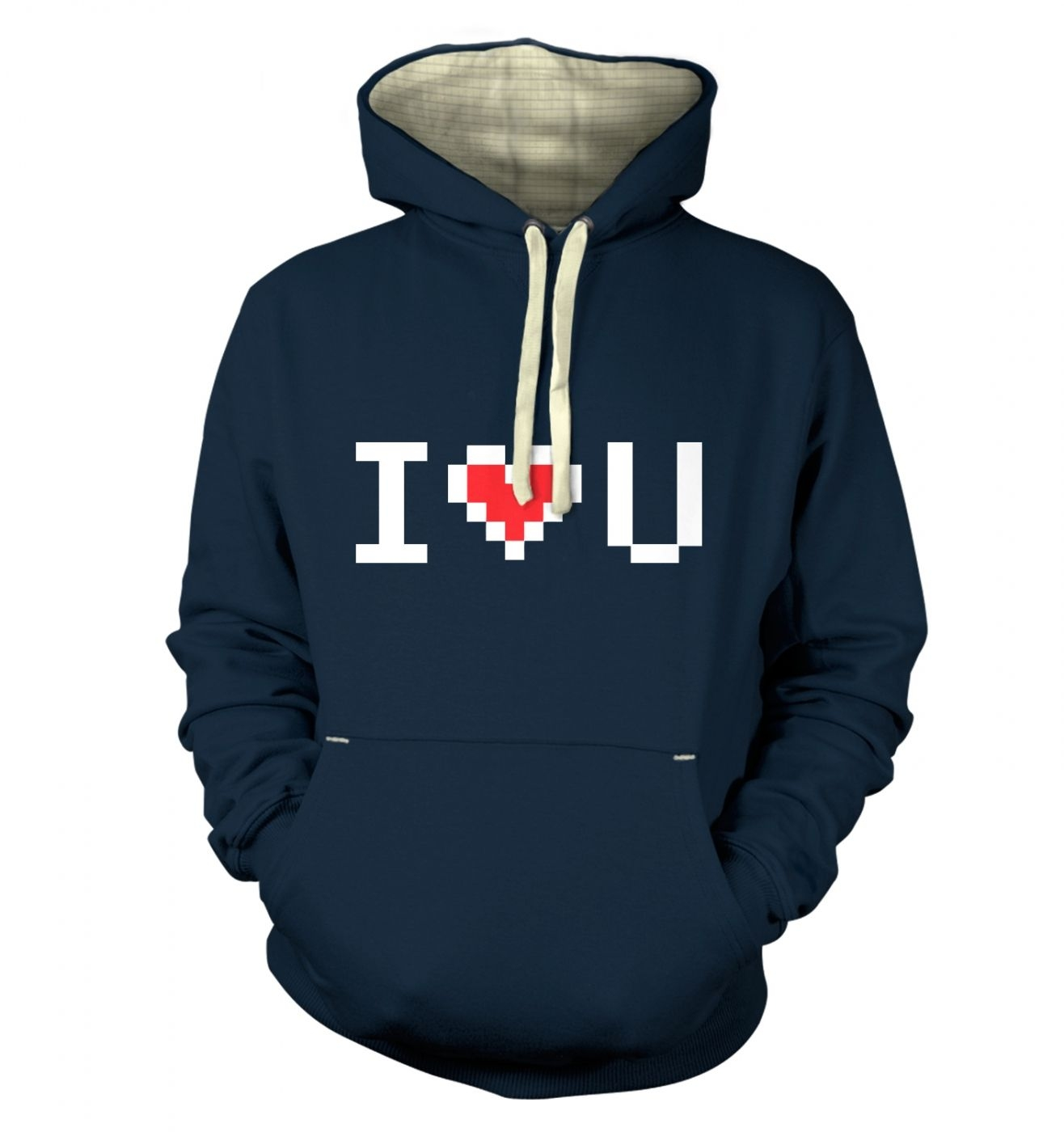 Pixelated I heart U Adult Premium Hoodie