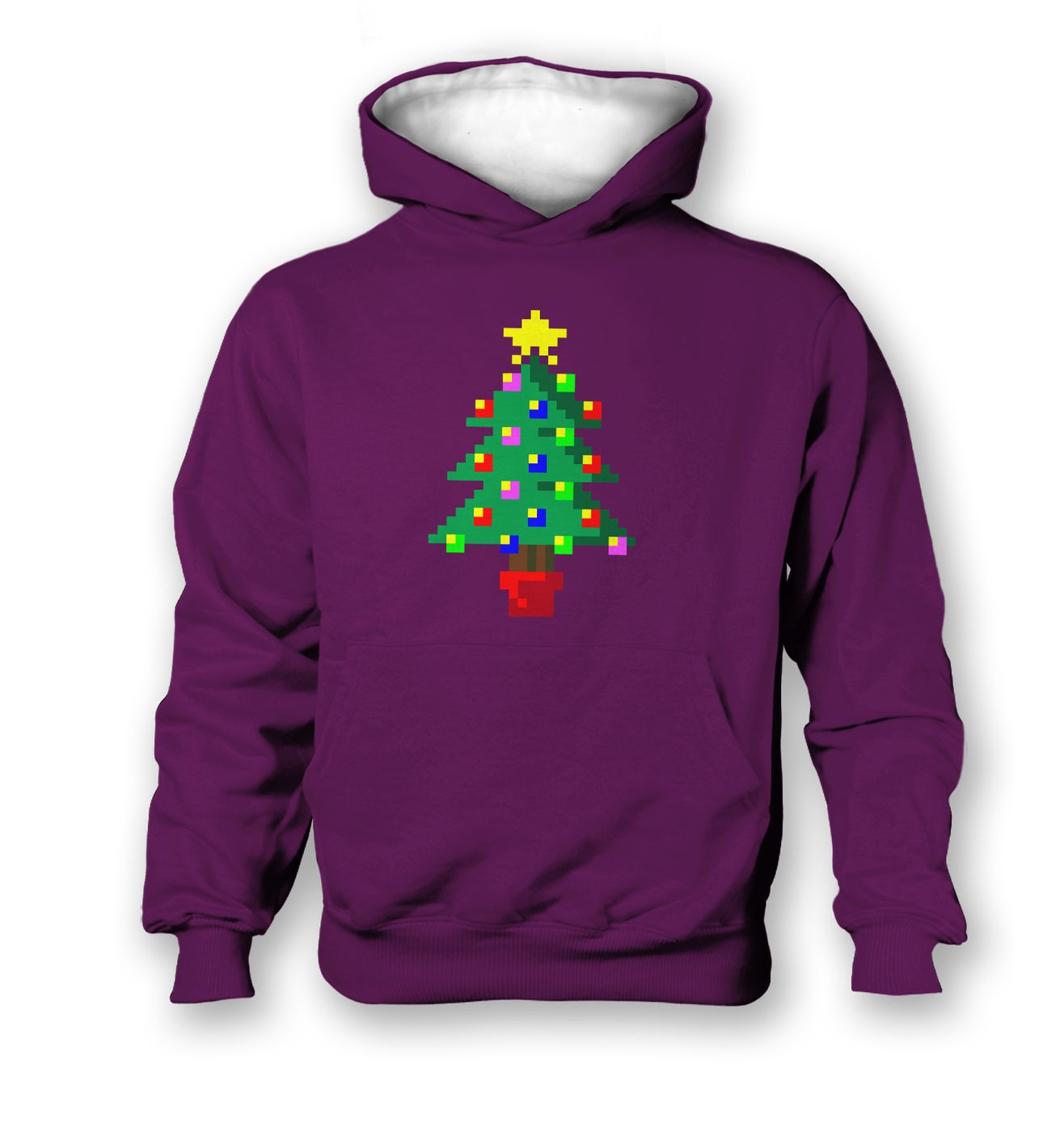 Pixellated Christmas Tree kids' contrast hoodie