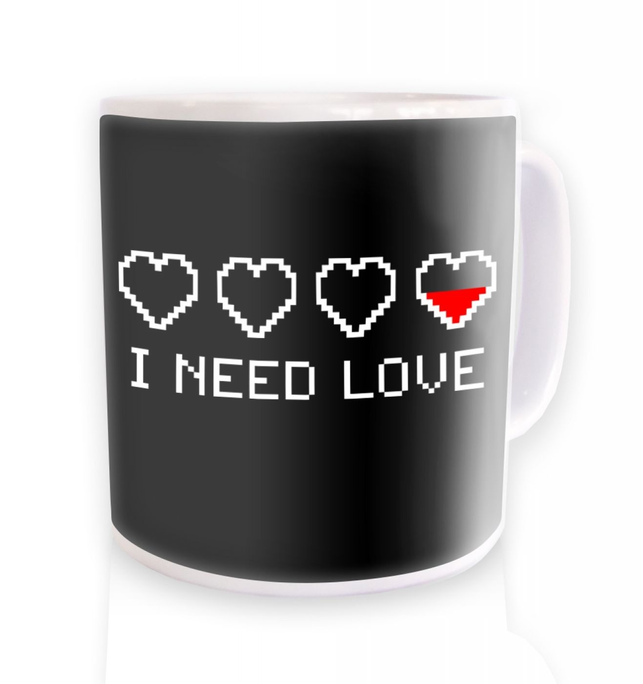 Pixelated I Need Love ceramic coffee mug