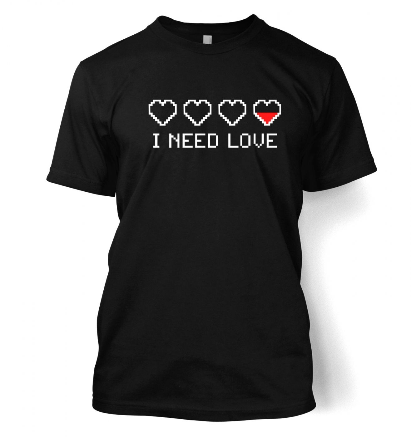 Pixelated I Need Love men's t-shirt