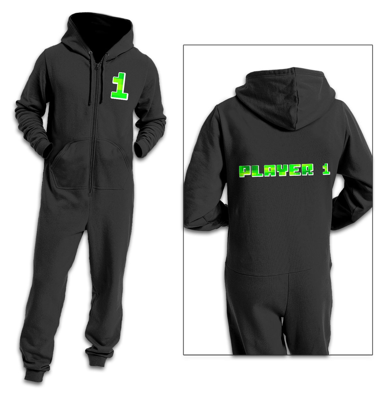 Player 1 Pixelated adult onesie by Something Geeky