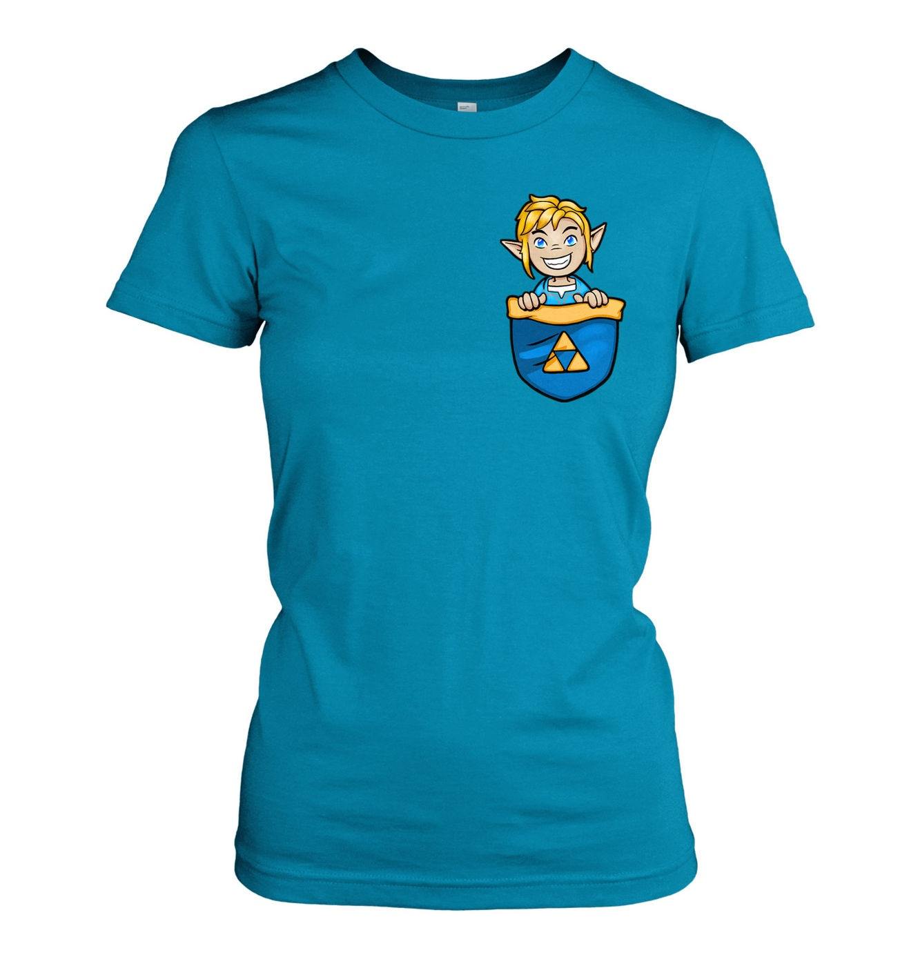 Pocket Hyrule Warrior (Blue) women's t-shirt by Something Geeky