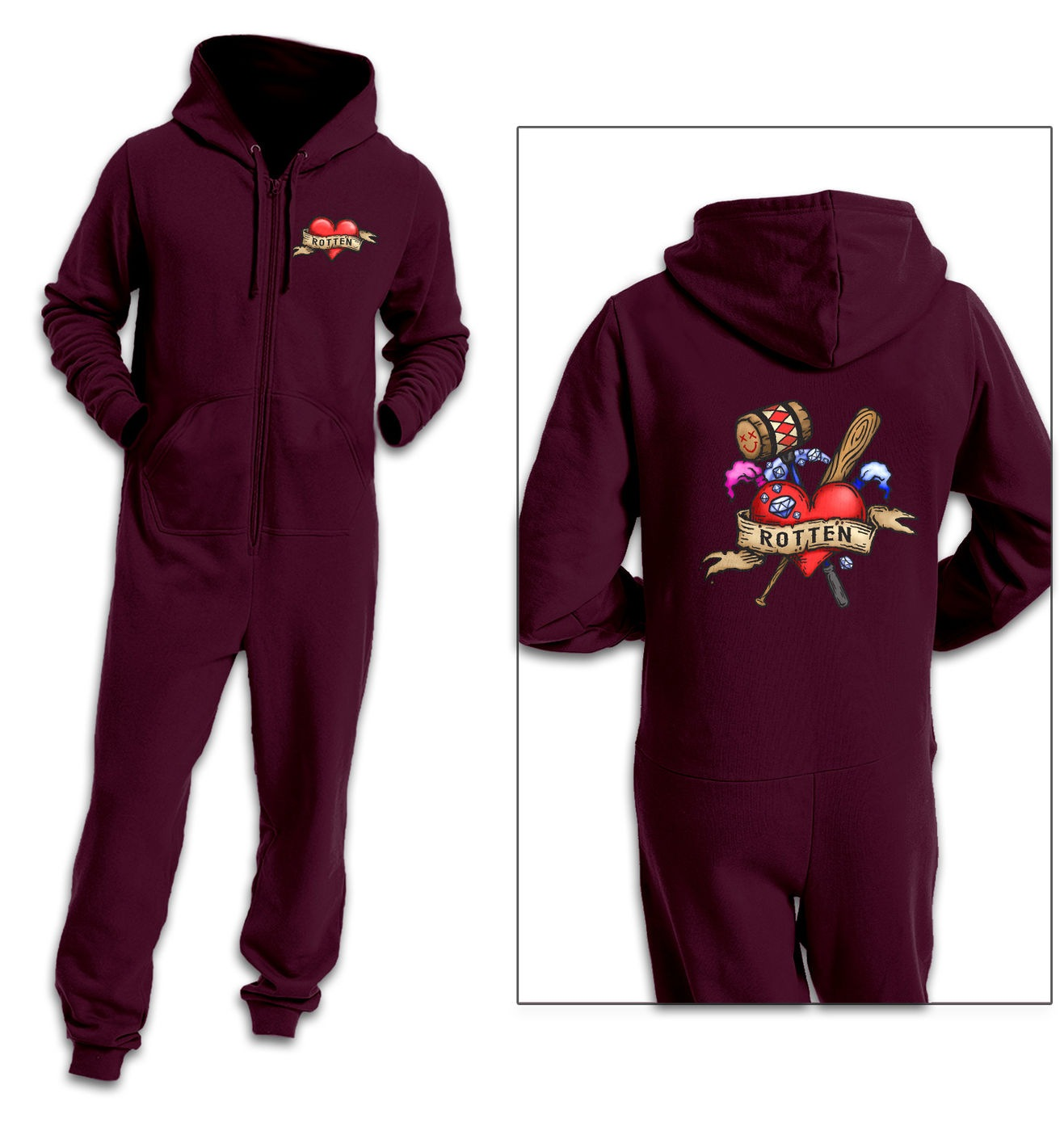 Rotten Tattoo adult onesie by Something Geeky
