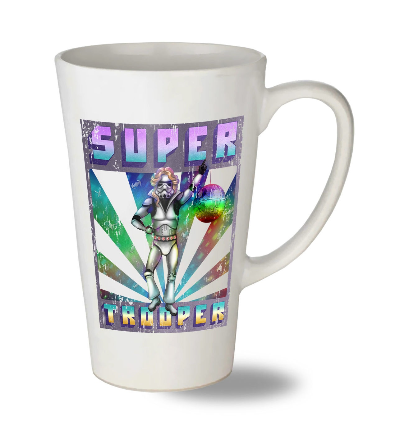 Super Trooper tall latte mug - funny ABBA Star Wars parody latte mug