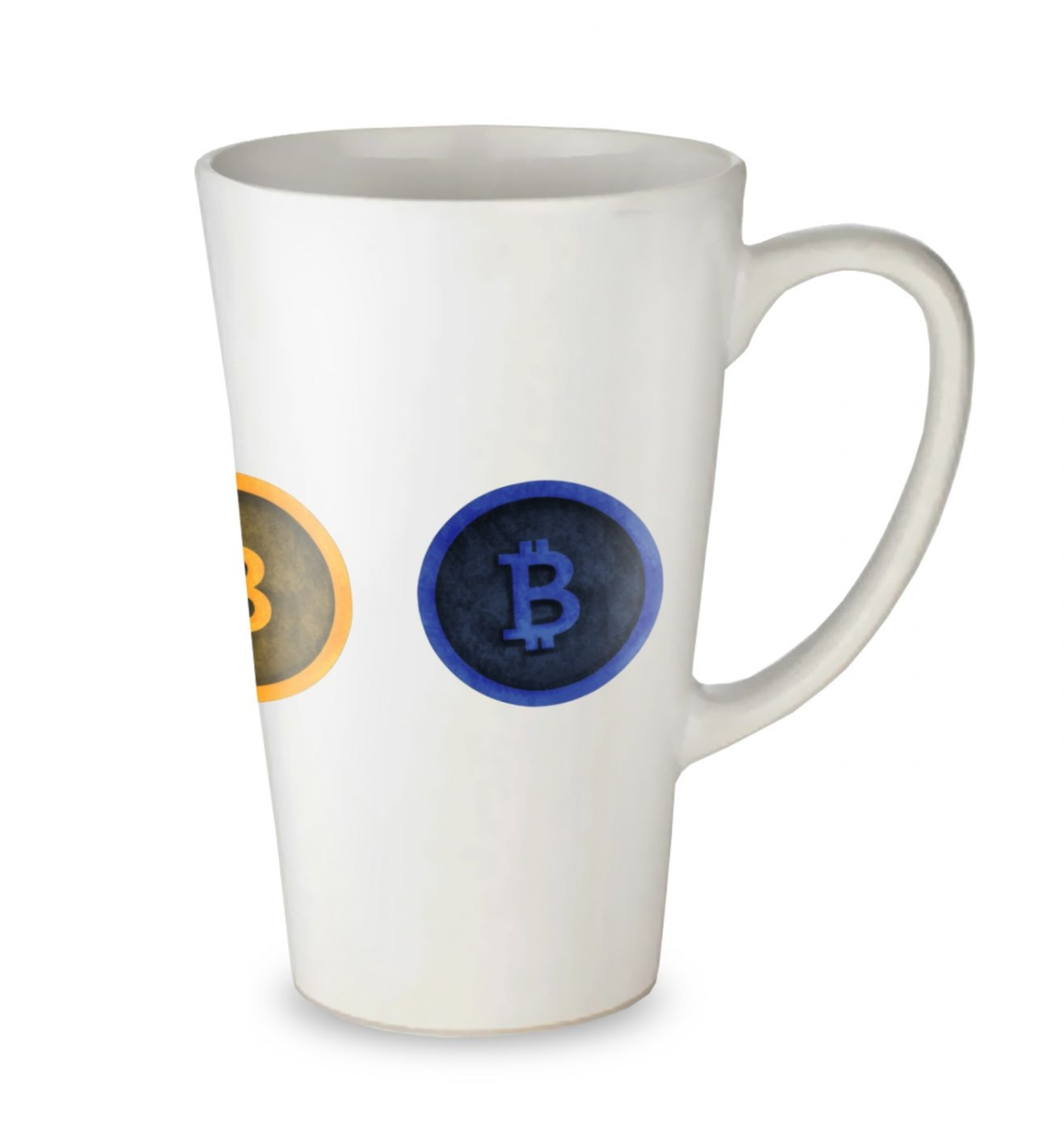 Three Bitcoins Row tall latte mug