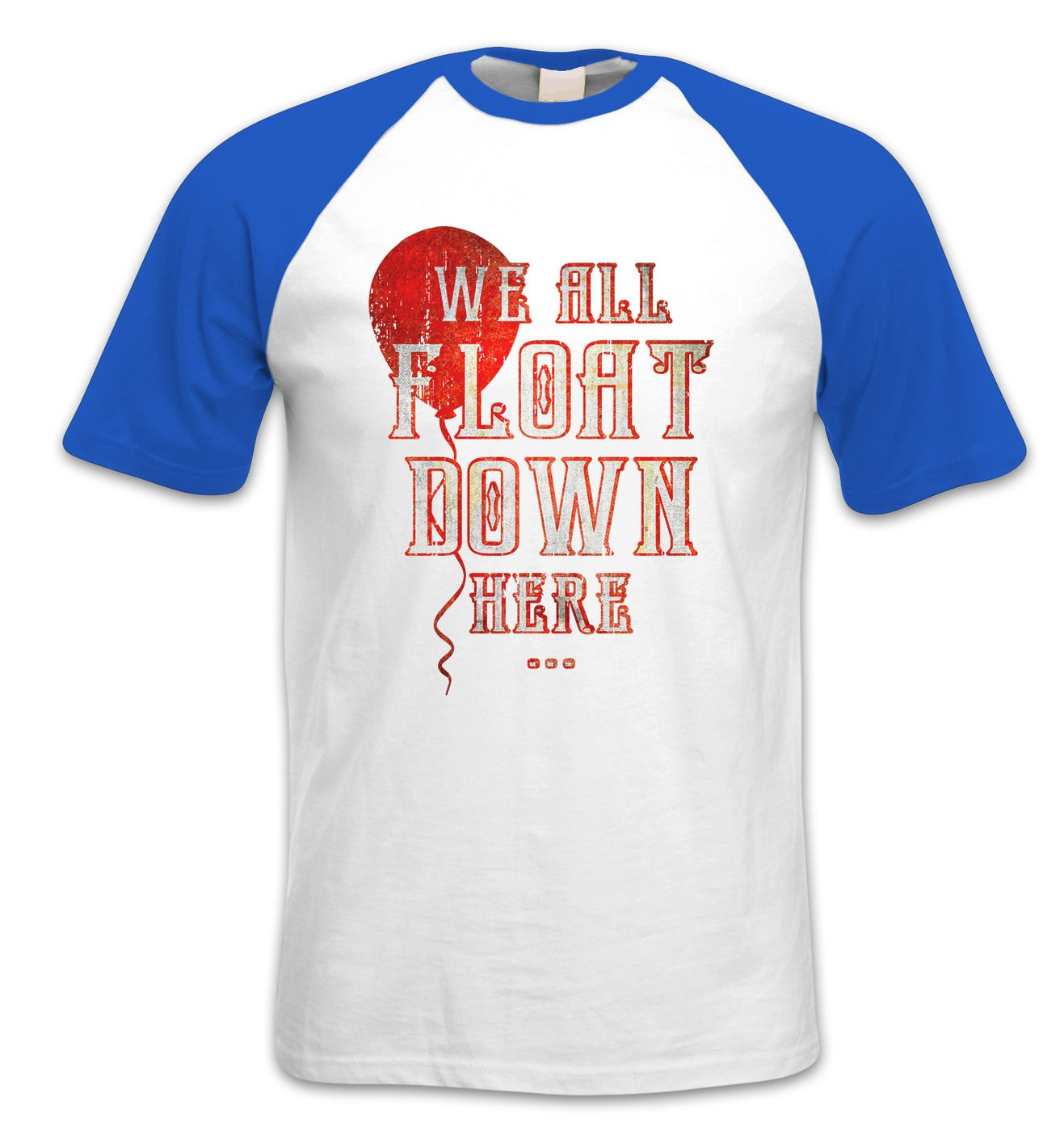 We All Float Down Here short-sleeve baseball t-shirt by Something Geeky