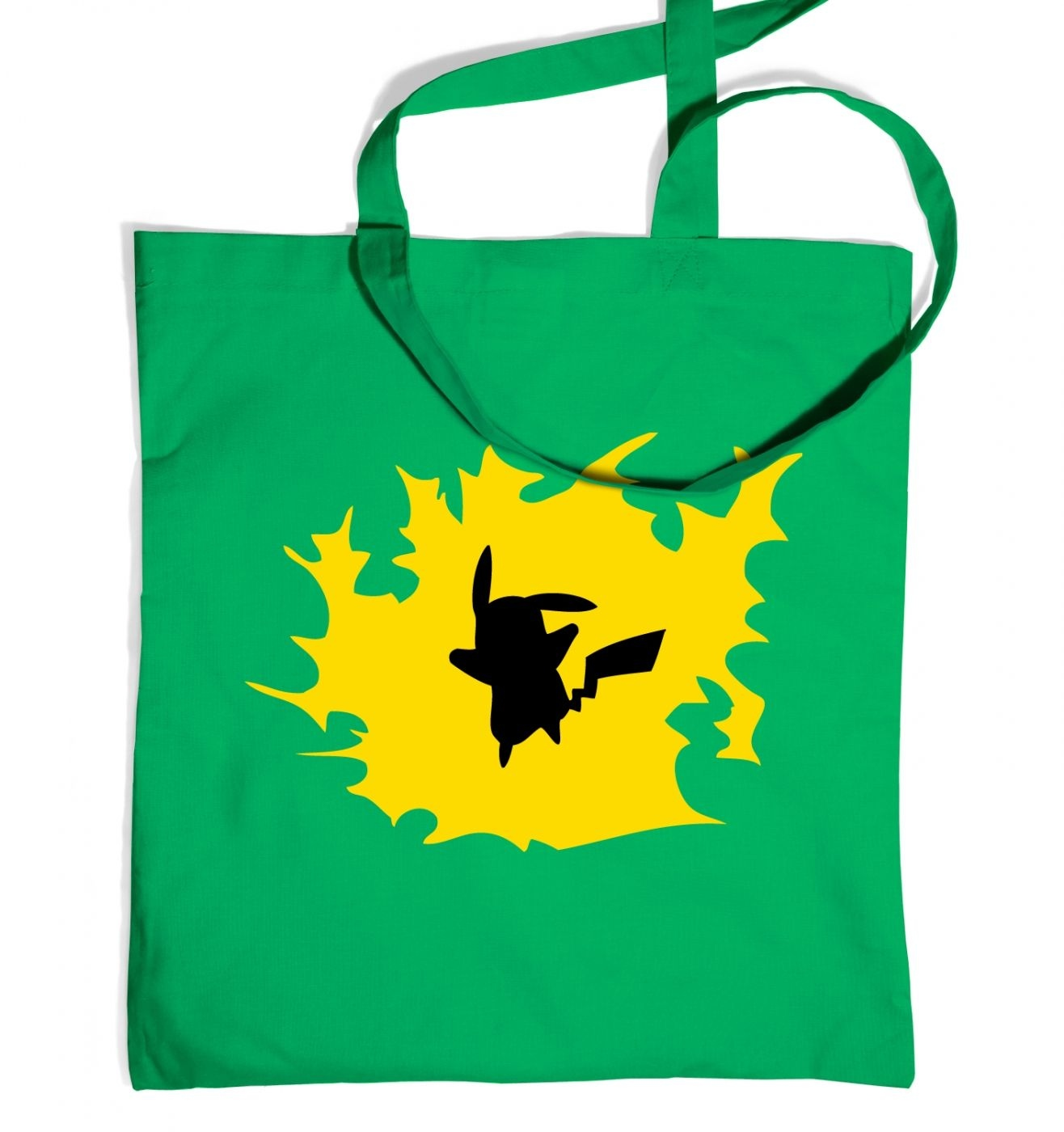 Yellow Pikachu Silhouette Tote Bag - Inspired by Pokemon