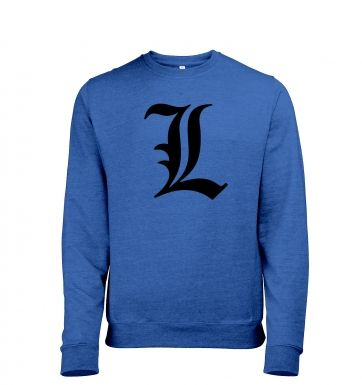 'L' Mens Heather Sweatshirt   - Inspired by Death Note