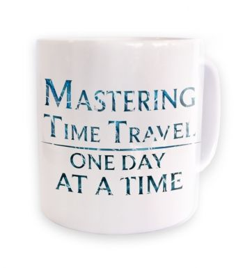 Mastering time travel (blue) mug