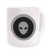 Grey Alien Head Circle Black Fill mug