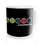 Assembled In A Row ceramic coffee mug