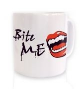 White Bite Me! Vampire fangs mug