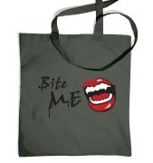Bite Me! Vampire fangs tote bag