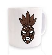 Brown Tribal Mask ceramic coffee mug