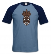 Brown Tribal Mask short-sleeved baseball t-shirt