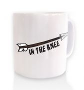 Cartoon Arrow In The Knee ceramic coffee mug